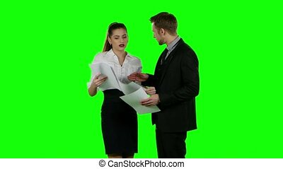 Business conflict. Green screen - Business conflict,...
