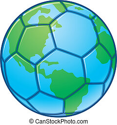 Planet Earth World Cup Soccer Ball - Vector illustration of...