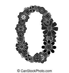 decorative number zero - Monochrome number zero of hand...