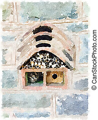 Digital watercolour of an insect and bee house - Digital...