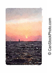 Digital watercolour painting of a sailboat sailing into the sunset