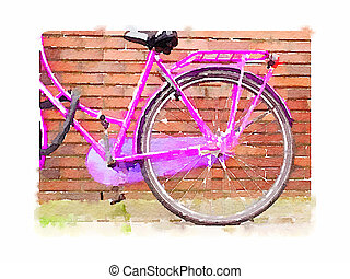 Water colour pink bicycle - Digital watercolour painting of...