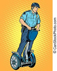 Police patrol electric scooter pop art retro style The work...