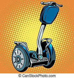 Abstract electric scooter with flashlight segway pop art...