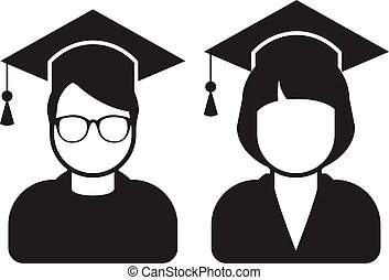 Students in mortarboard hats