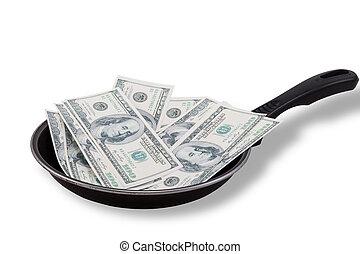 Dollar bills in Non stick frying pan - Dollar bills in used...
