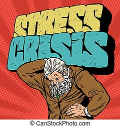 Antique Atlas stress crisis strong man businessman pop art...