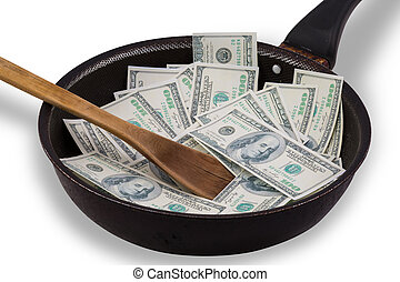 Money in Non stick frying pan - Money in used Non stick...
