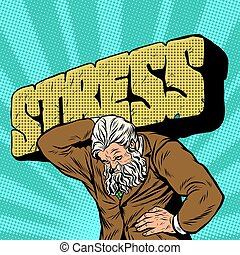 Antique Atlas stress strong man businessman pop art retro...