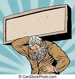 Antique Atlas stone tablet strong man businessman - Antique...