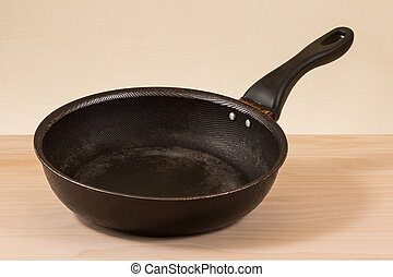 used non stick frying pan on wooden table