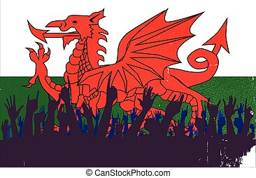 Welsh Flag with Audience - Audience happy reaction with the...