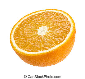 Half of orange isolated on white background. With clipping...