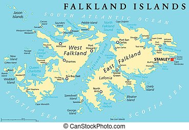 Falkland Island Political Map - Falkland Islands, also...