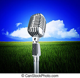 vintage microphone and nature - sound of nature, vintage...
