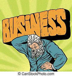 Antique Atlas stone word business strong man businessman -...