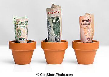 indian money concept growth - indian bank notes rupee,...