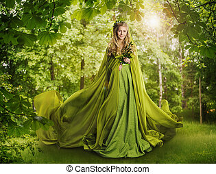 Fantasy Fairy Tale Forest, Fairytale Nature Goddess, Woman...