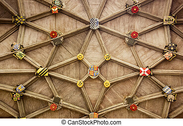 Stone Ceiling With Insignia - The stone ceiling of the...
