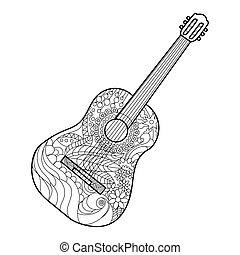Acoustic guitar coloring book for adults vector...