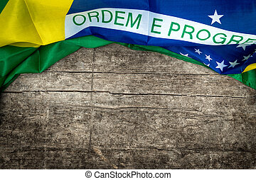 brazilian flag on wooden background