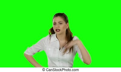 Businesswoman running Green screen - Businesswoman running,...
