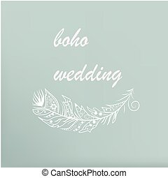 boho - Vector Illustration  with feathers in boho style
