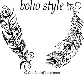 Boho style - Vector Illustration with feathers in boho style...