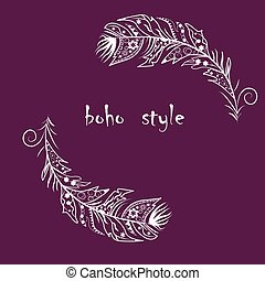 boho feathers - Vector Illustration with feathers in boho...