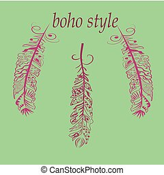 Feathers in boho - Vector Illustration with feathers in boho...