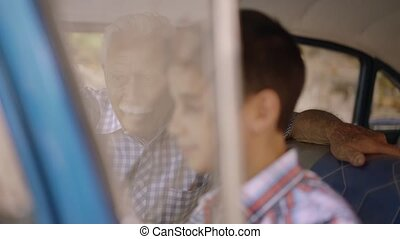 Old Man Grandpa Gives Driving Class To Grandson - Family...