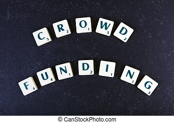 letters making the words crowd funding on a black background