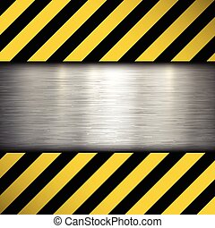 Metal plate on warning stripes back
