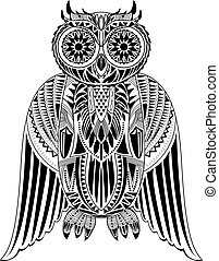 Hand-Drawn Owl illustration with abstract pattern