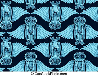 Hand-Drawn Owl illustration in abstract pattern