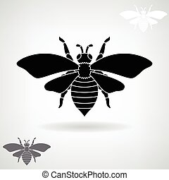 Black silhouette of the bee.