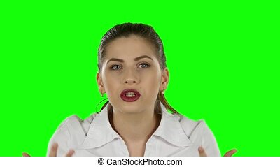 Businesswoman expressing frustration. Green screen