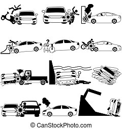 Icons of personal car accident and insurance sign. In vector...