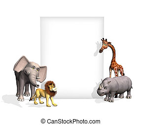 Zoo Animals with Blank Sign - A cartoon elephant, lion,...