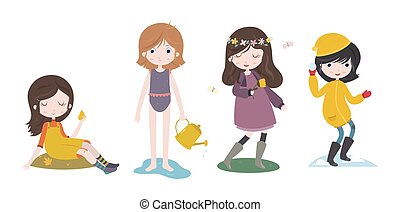 Cute cartoon girls and the four seasons Futumn, summer,...