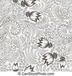 Khokhloma decorated seamless texture line art
