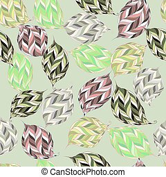 vector pattern of psychedelic shapes in the form of leaves...