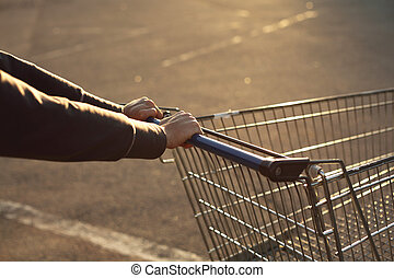 go shoping - take cart in hands go shoping