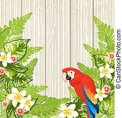 Tropical flowers and parrot