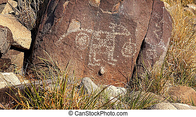 Ancient Petroglyph at Three Rivers Petroglyph site in New...