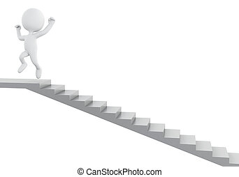 3d White people climbing stairs. Success in business.