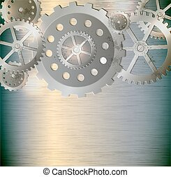 Abstract metallic industrial background with gears. Vector...