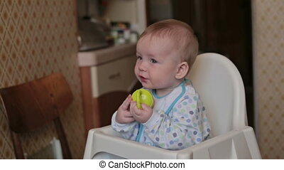 Baby sitting and eat at home - Baby sitting on the highchair...