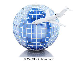 3D Globe and airplane - 3D Illustration Airplane flying...