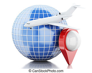3D Globe airplane and map pointer - 3D Illustration....